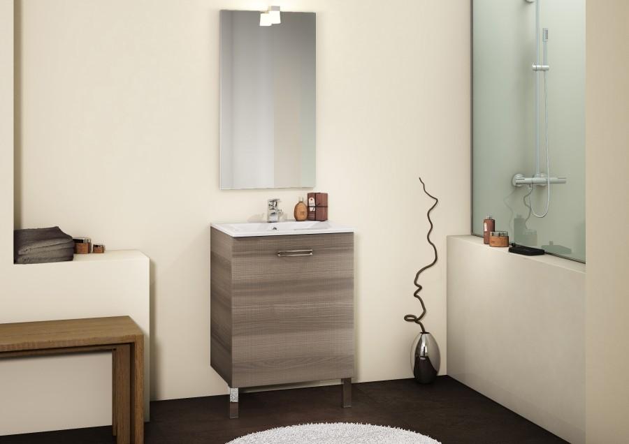 Meuble simple vasque 60 cm CHANGO Sciée BrunSanitaire