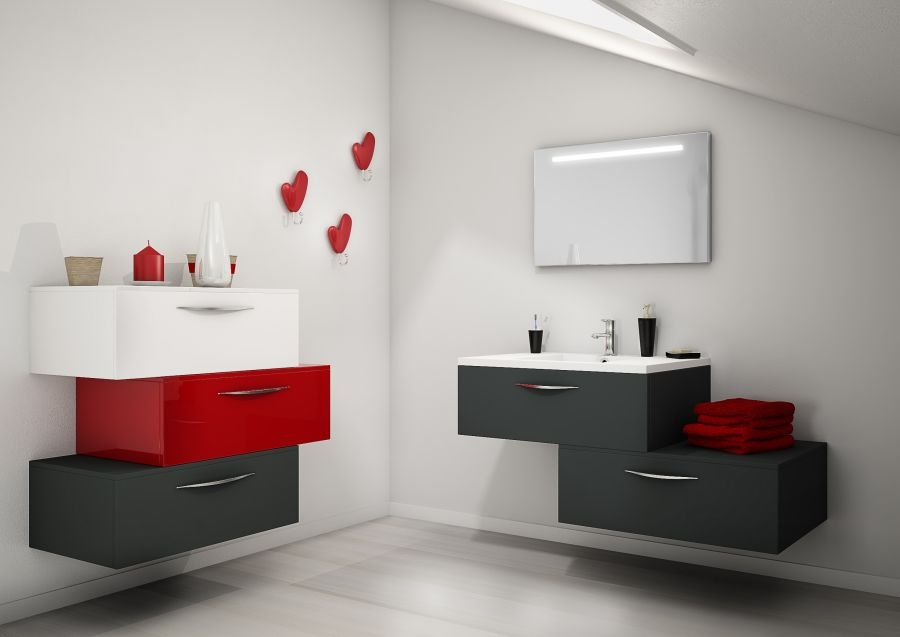 meuble simple vasque vogue 90 opale meuble de salle de bain douche. Black Bedroom Furniture Sets. Home Design Ideas