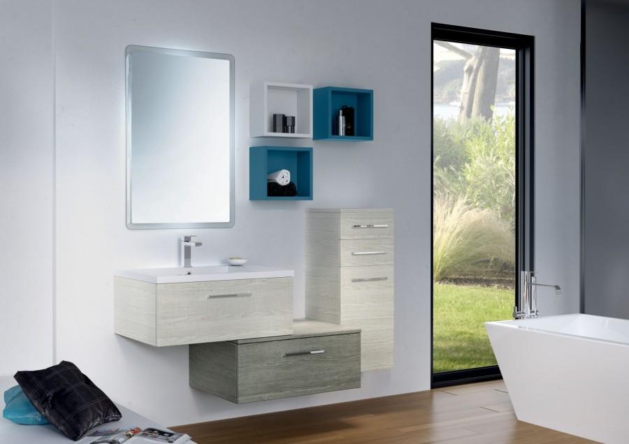 Meuble simple vasque VOGUE/LOFT 70 Sciée Blanc et Gris
