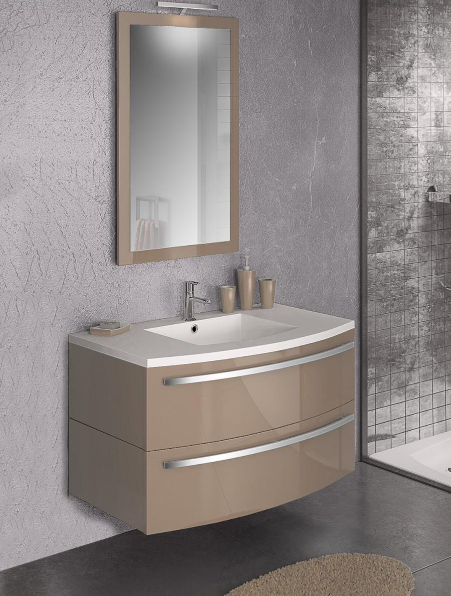 Meuble simple vasque ondine 100 cm laque argilesanitaire for Meuble sous vasque 100 cm
