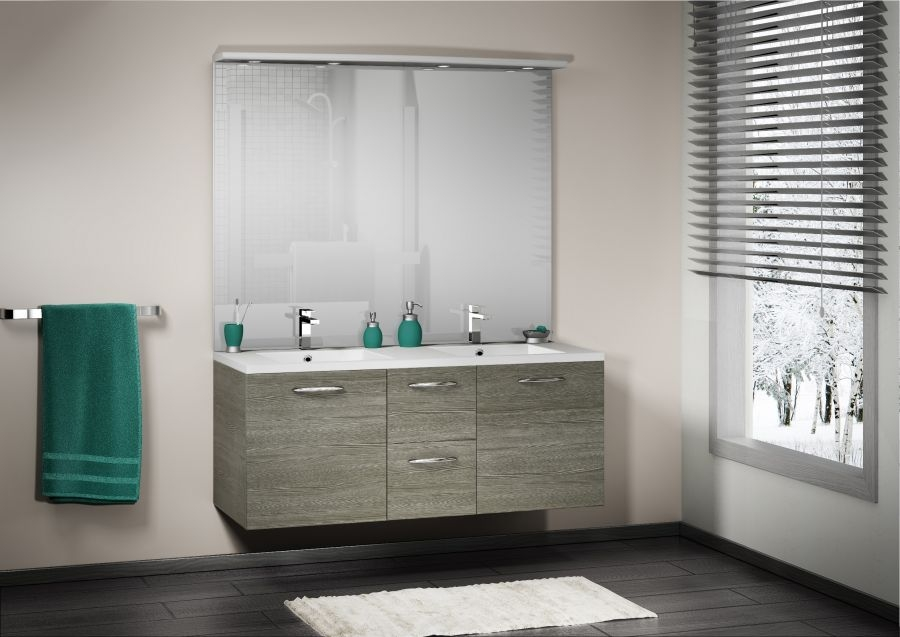 meuble double vasque integrale 140 cm sci e gris meuble de salle de bain douche. Black Bedroom Furniture Sets. Home Design Ideas