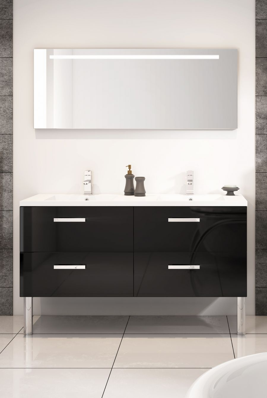 meuble double vasque loft 140 cm cristal meuble de salle de bain douche. Black Bedroom Furniture Sets. Home Design Ideas