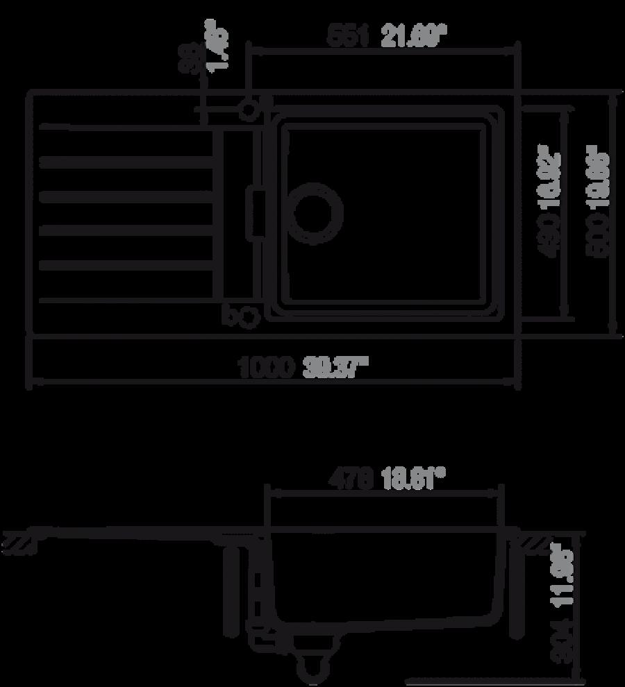 evier de cuisine primus 1 grande cuve alpina ev224011pc. Black Bedroom Furniture Sets. Home Design Ideas