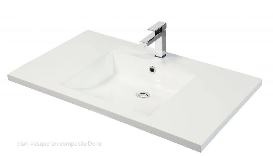 Meuble Simple Vasque Integrale 105 Cm Cristal Blanc Sanitaire Fr
