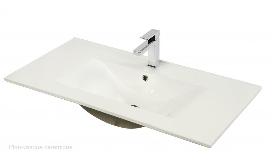 Meuble simple vasque 90 cm chango cristal blancsanitaire for Meuble vasque 110 cm