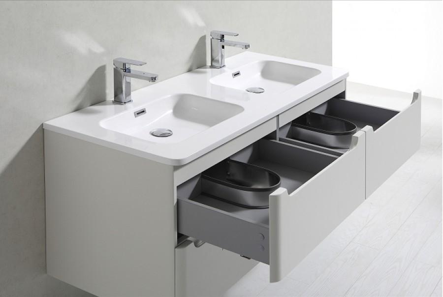 Meuble double vasque 120cm toola blanc ivoire sans miroir - Meuble patine blanc ivoire ...