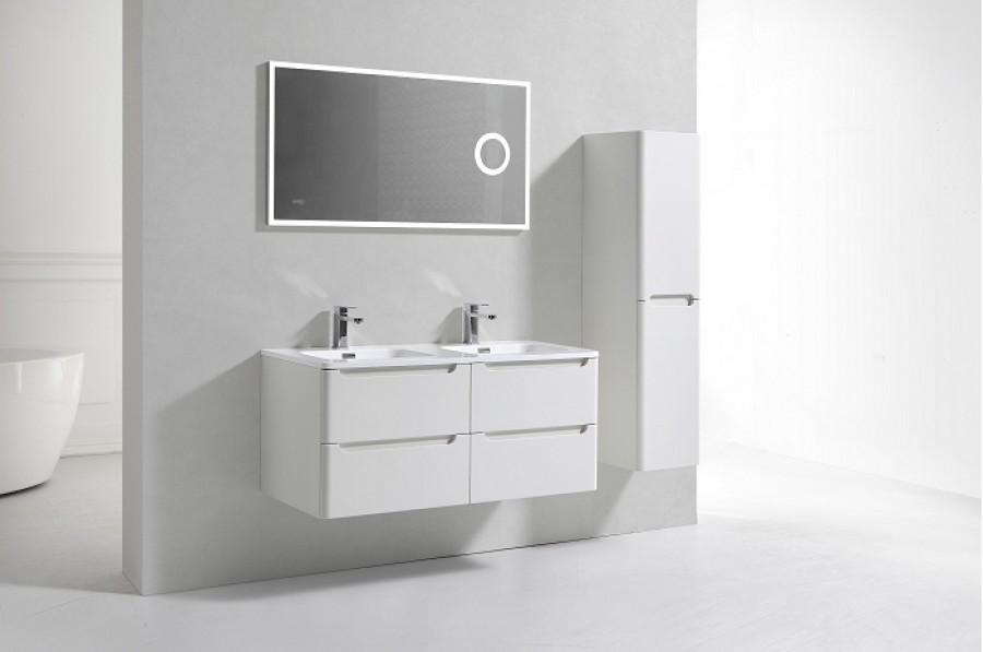 Meuble double vasque toola blanc ivoire 120 cm avec miroir lite - Meuble patine blanc ivoire ...