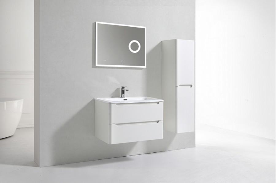 Meuble simple vasque 80cm toola blanc ivoire miroir - Meuble patine blanc ivoire ...