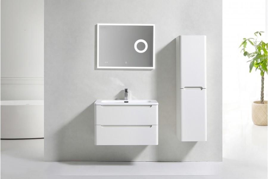 Meuble simple vasque 80cm toola blanc ivoire miroir lite - Meuble patine blanc ivoire ...