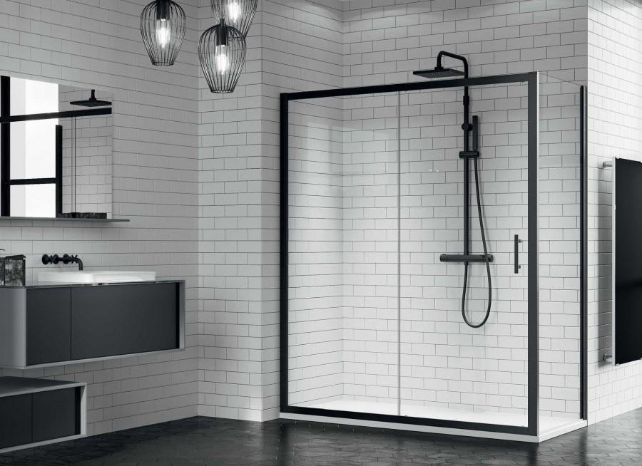 Porte Coulissante Zephyros 2p 100cm Verre Transparent Profiles Noir
