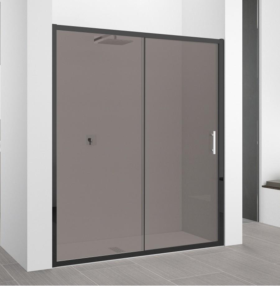 Porte coulissante Zephyros 2P 100 cm, verre Fumé, profilés ...