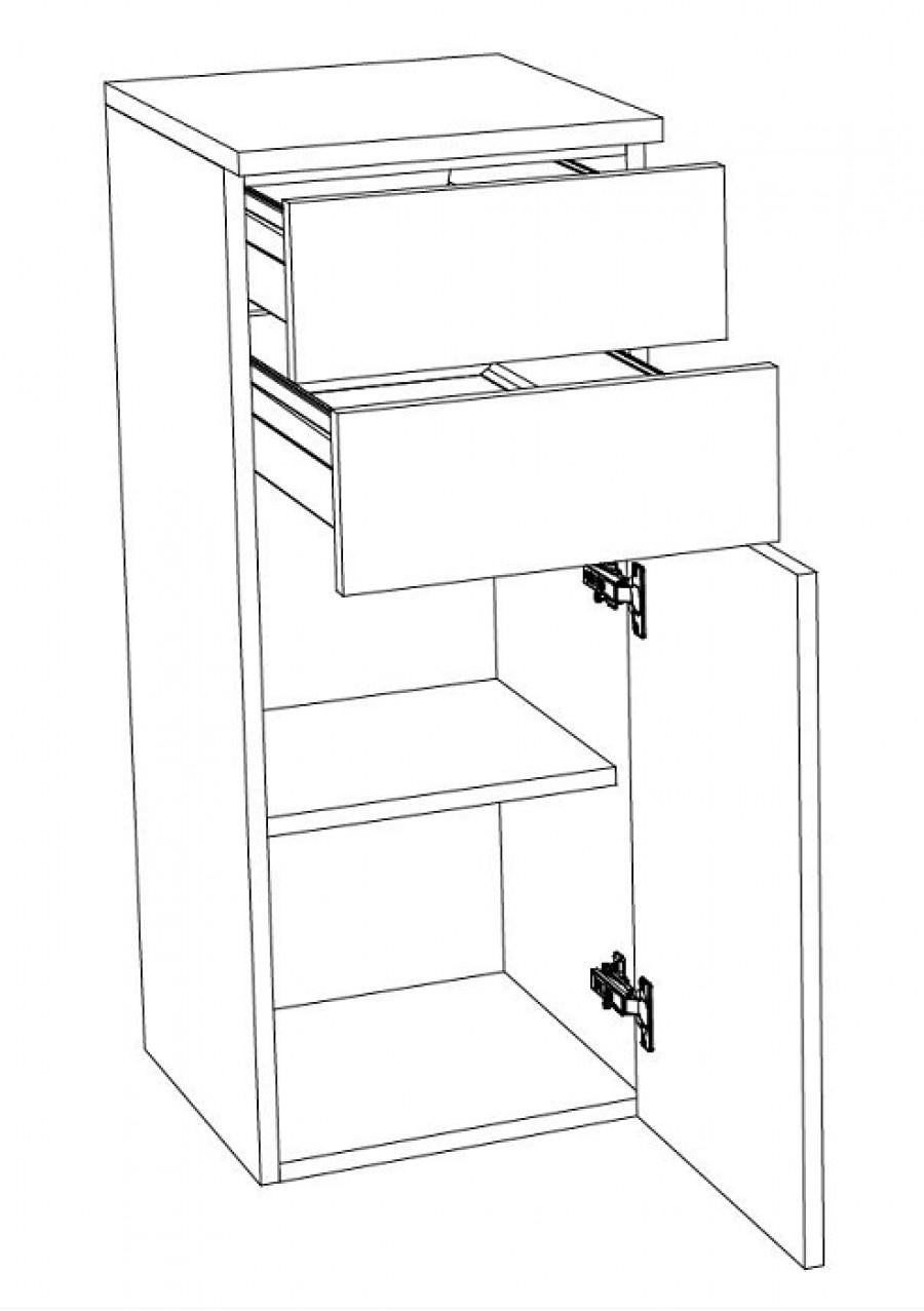 Demi-colonne 1 porte + 2 tiroirs DT35 - Groupe 2
