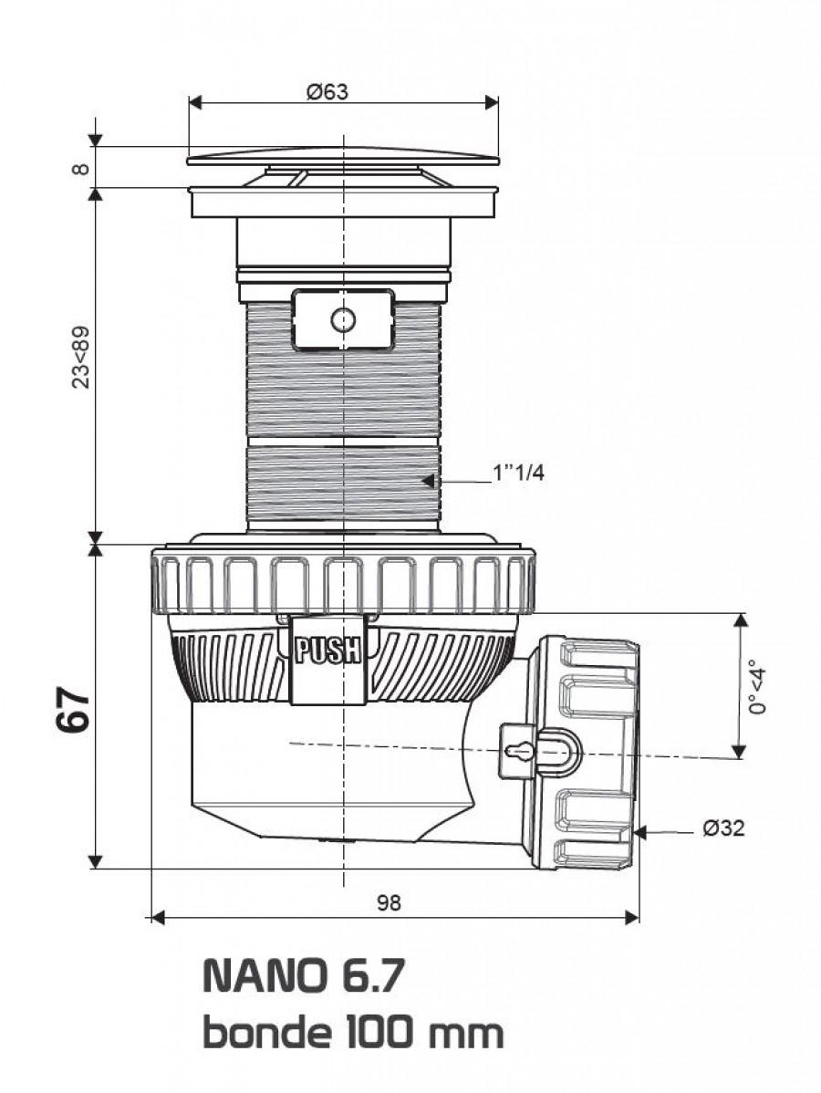 Bonde Recoupable Et Siphon De Lavabo Ultra Compact Nano 6 7