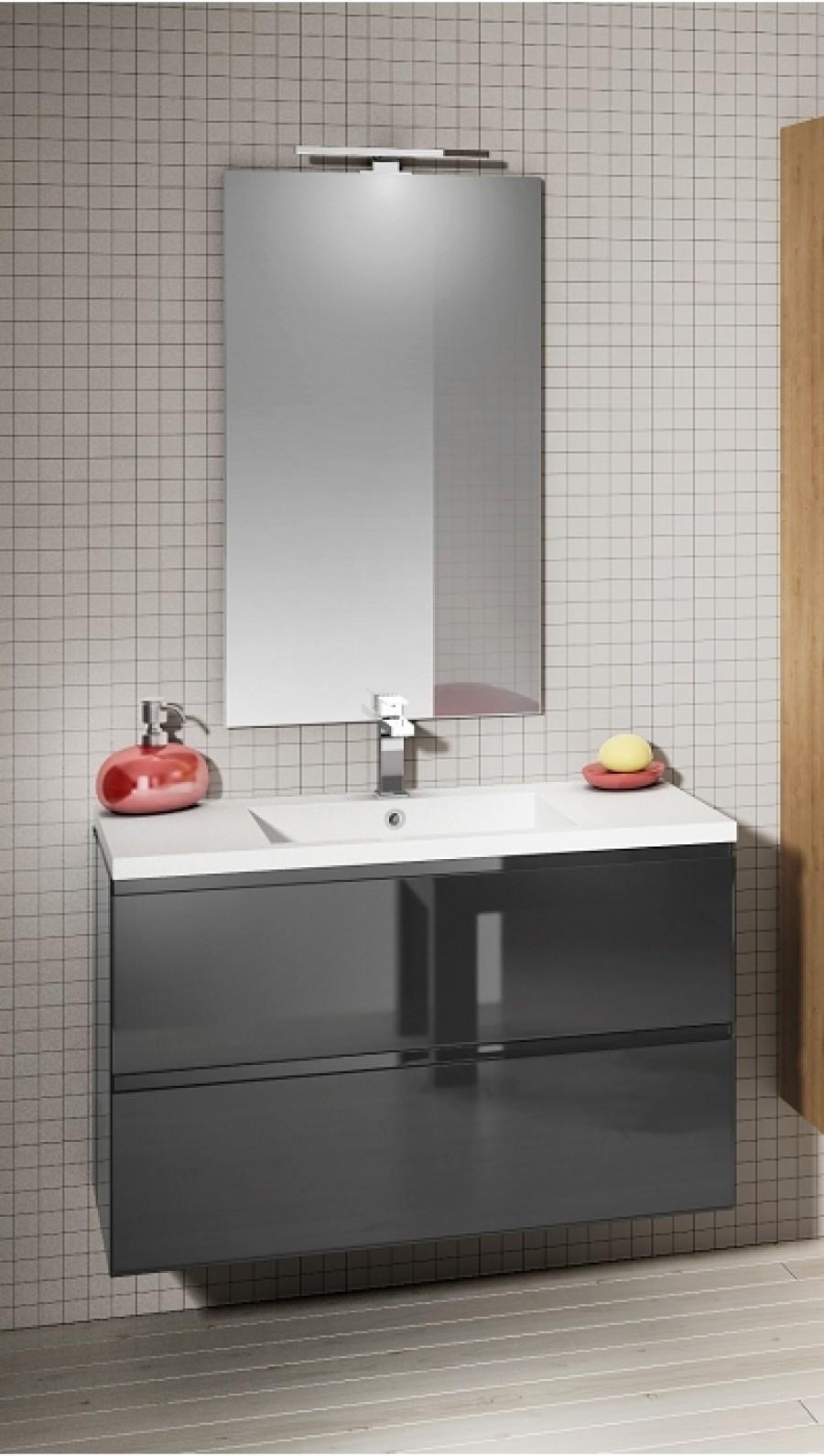 meuble simple vasque 70 cm loft borale gris - Meuble Vasque 70 Cm