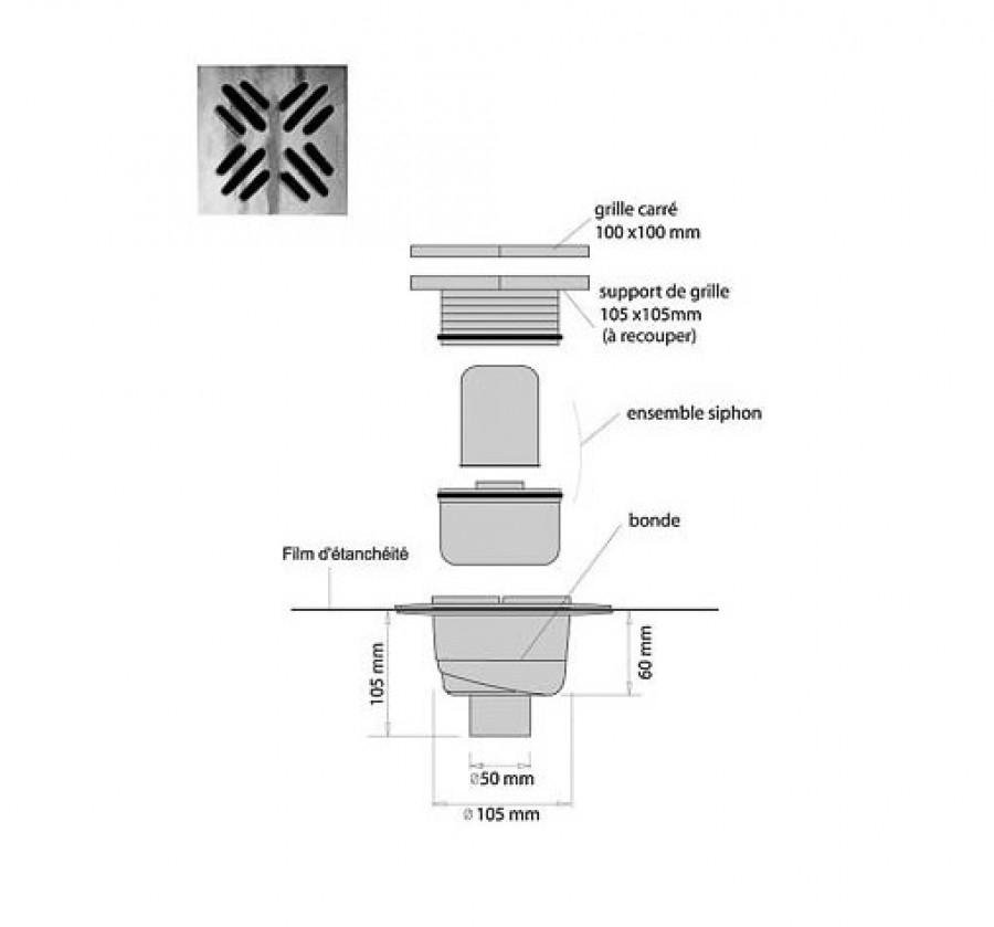 receveur de douche isotanche chantier 120x120 bonde verticale. Black Bedroom Furniture Sets. Home Design Ideas