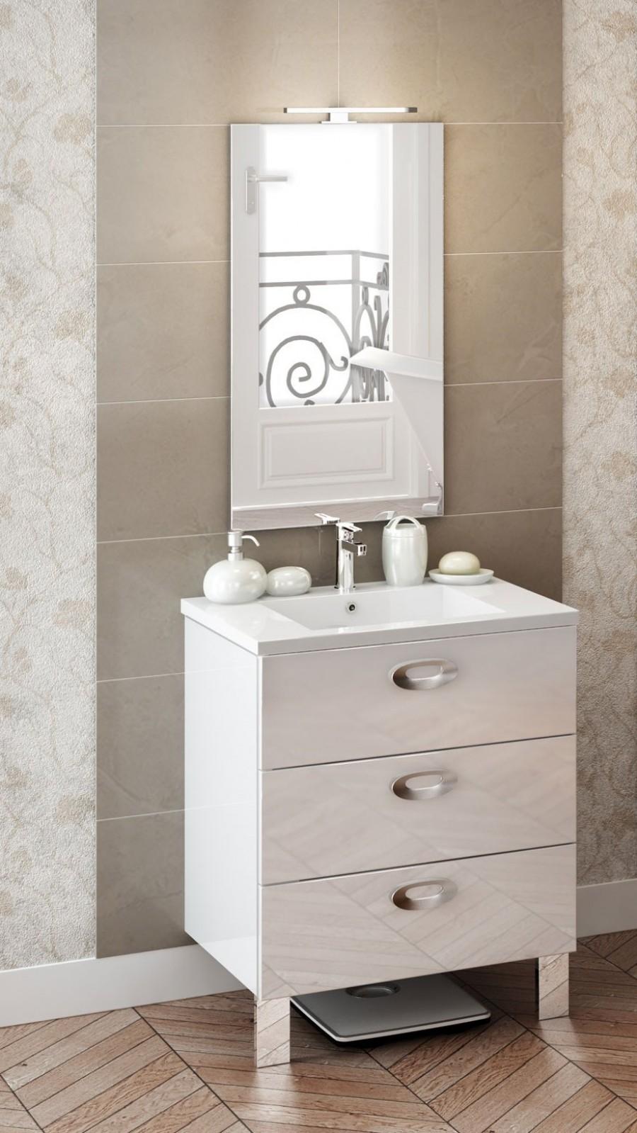 meuble simple vasque trendy 70 cm cristal blanc. Black Bedroom Furniture Sets. Home Design Ideas