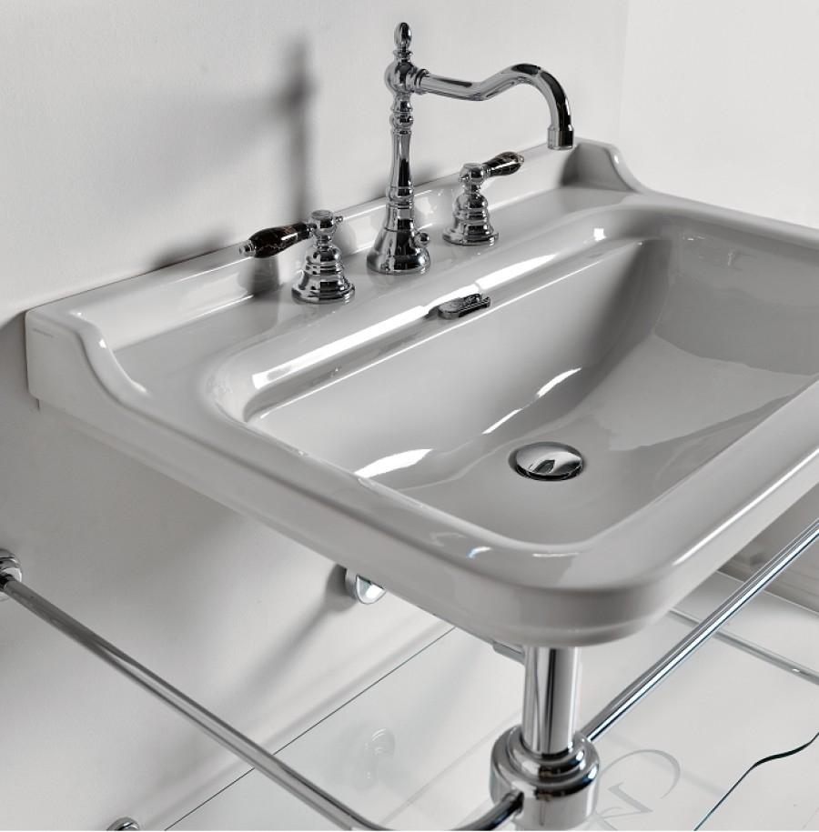 Vasque Rétro à 3 Trous : Ens lavabo rétro cm trous piètement chromé