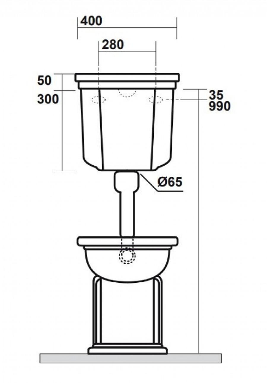 bloc wc r tro complet r servoir mi haut meuble de salle de bain douche. Black Bedroom Furniture Sets. Home Design Ideas
