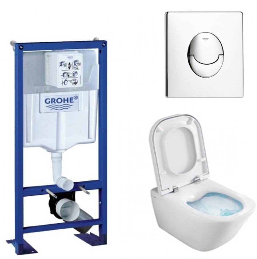 Pack WC Grohe Rapid SL + Cuvette GAP Cleanrim Roca + Plaque Chromée