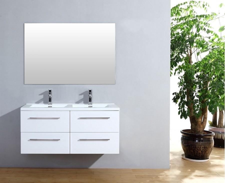 Meuble double vasque 120cm Saturn 2 0 Blanc Brillant miroir