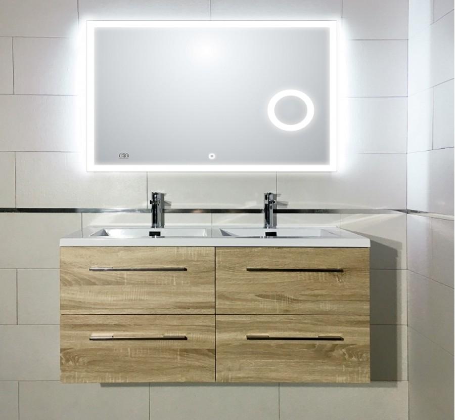 Meuble double vasque 120cm Jupiter 2 0 Bois Clair miroir