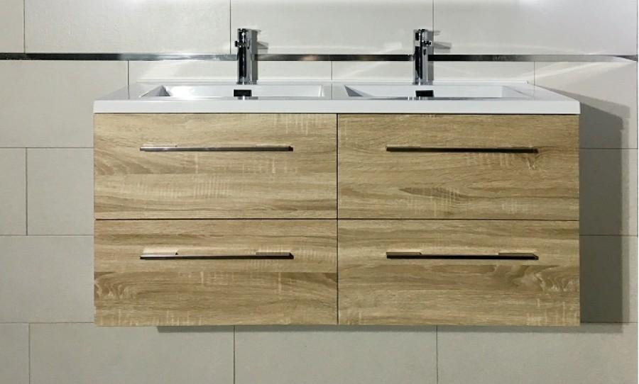 Meuble double vasque 117 Jupiter 2.0 Bois Clair sans miroir