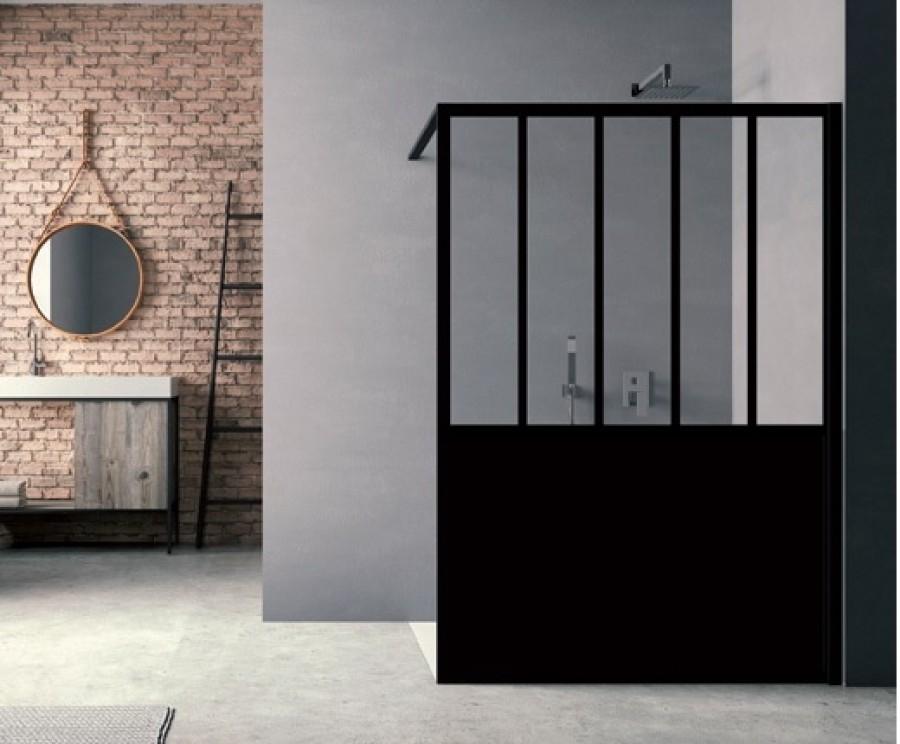 paroi de douche loft steel 120 cm meuble de salle de bain douche baignoire. Black Bedroom Furniture Sets. Home Design Ideas