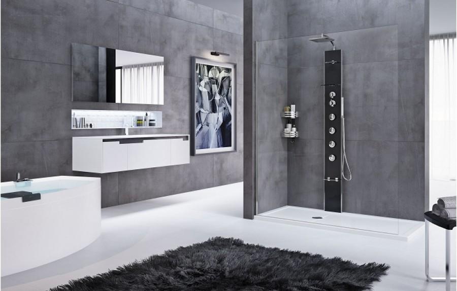 colonne de douche cascata 1 noir mitigeur m canique novellini. Black Bedroom Furniture Sets. Home Design Ideas