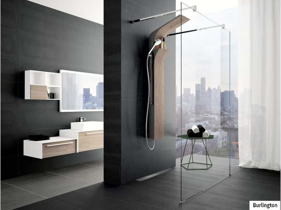 colonne de douche vanity s bois mitigeur thermostatique meuble de. Black Bedroom Furniture Sets. Home Design Ideas