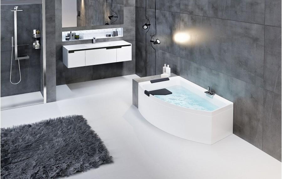 Baignoire asymétrique DIVINA O Hydro Plus Blanc Mat - Sans robinetterie - Version Gauche