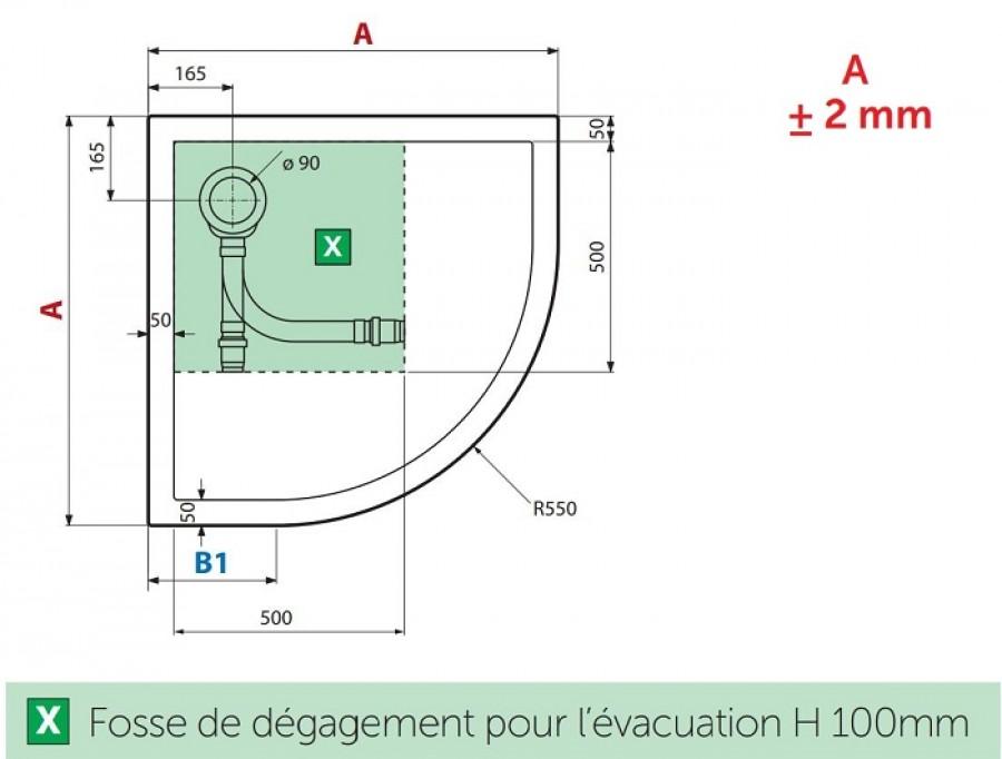 Receveur De Douche 1 4 Cercle New Victory 80 X 80 Cm Blanc Bord 4 5 Cm