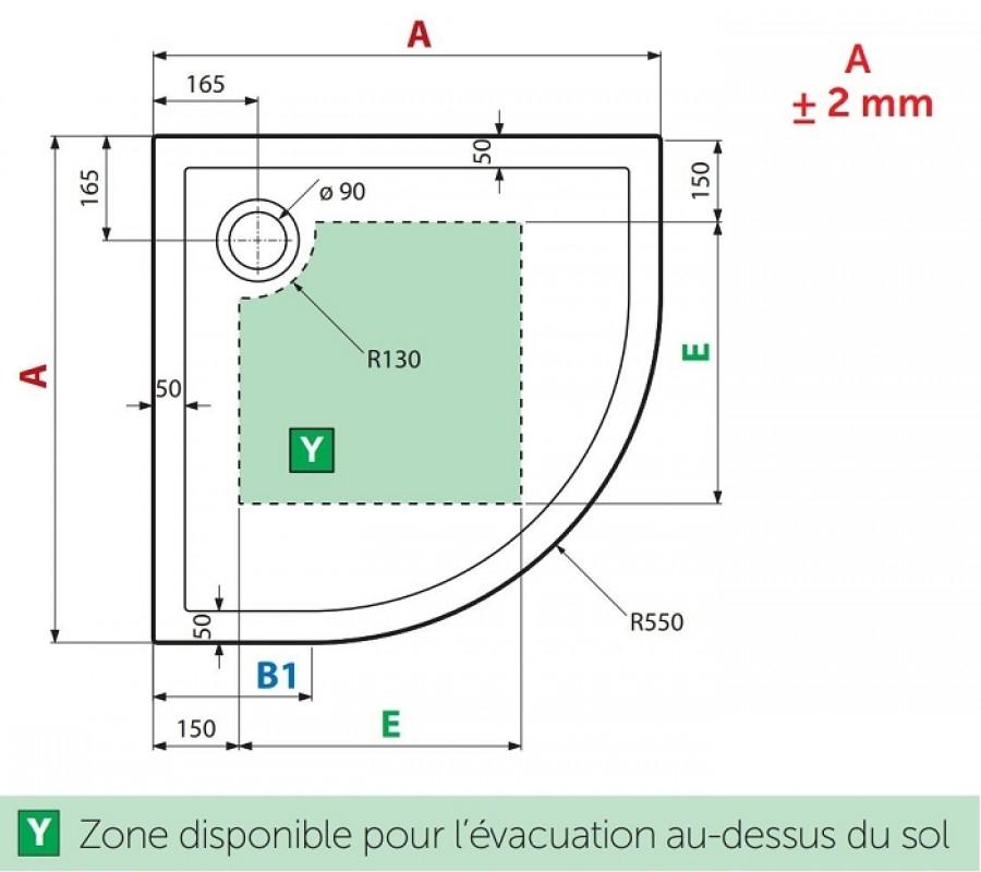 Receveur De Douche 1 4 Cercle New Victory 80 X 80 Cm Blanc Bord