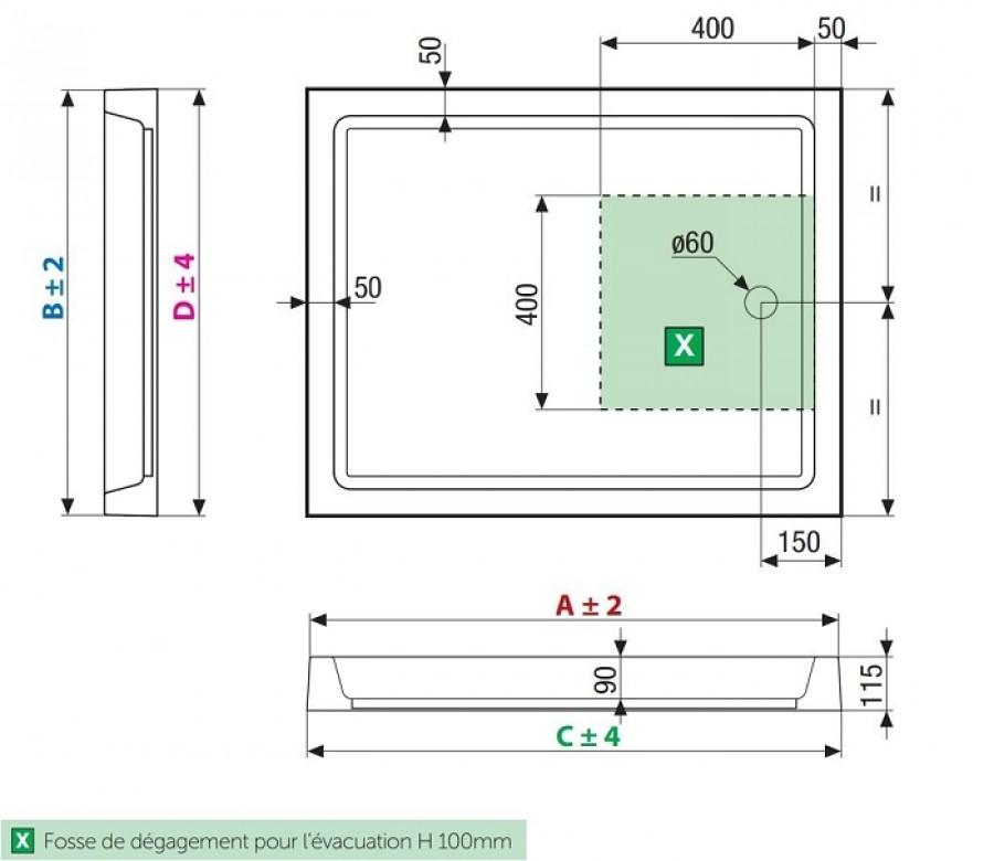 receveur de douche rectangulaire olympic poser 90 x 72 meuble de salle de. Black Bedroom Furniture Sets. Home Design Ideas