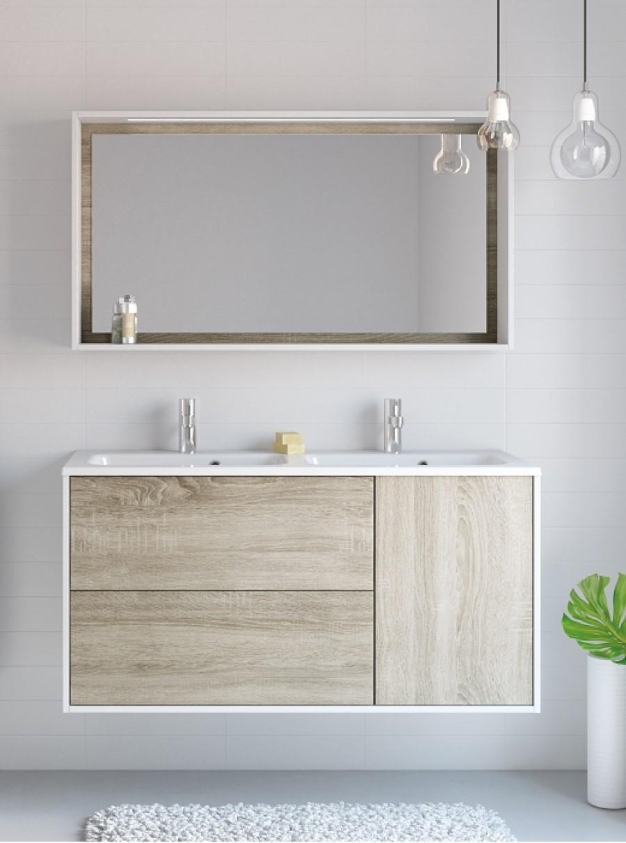Meuble double vasque à suspendre NEWPORT - 120 cm Blanc/Chêne Sand