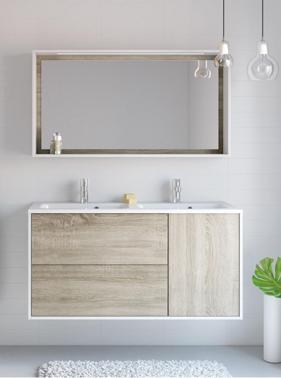 Meuble double vasque  suspendre NEWPORT 120 cm Blanc Chªne