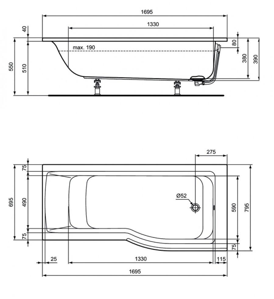 Baignoire douche asym trique connect air version for Baignoire asymetrique 160x70