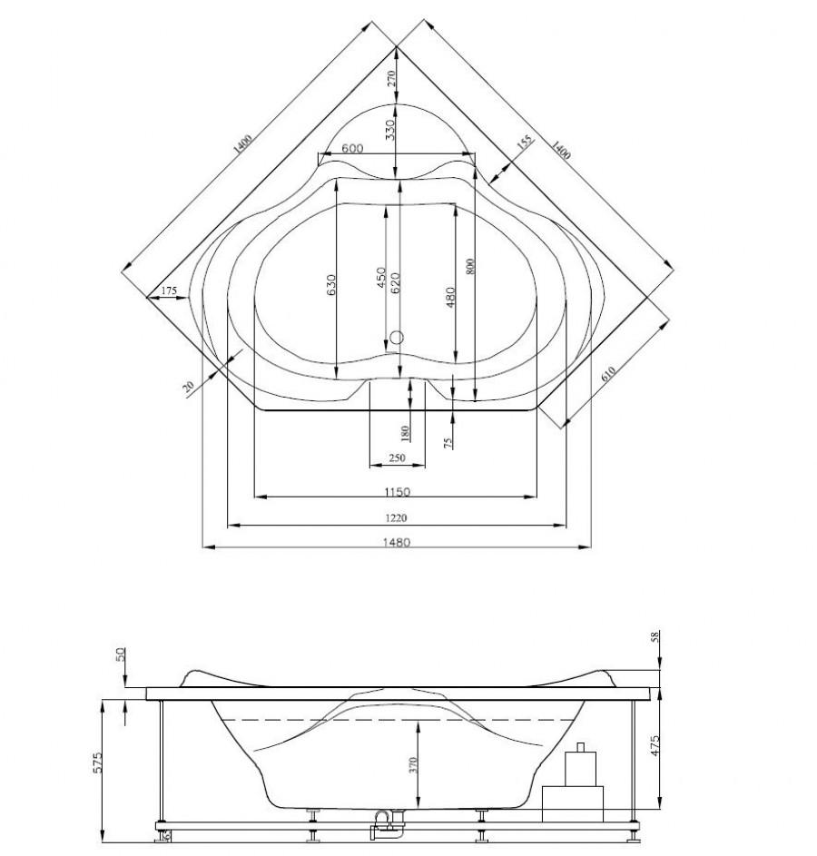 Baignoire Balneo Ergonomique D Angle 140x140 Sante Kinedo
