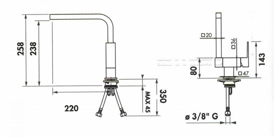 Mitigeur évier sous fenêtre - Bec basculant - RCS951/BB