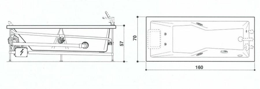 baignoire baln o energy rectangulaire 160x70 t te droite meuble de. Black Bedroom Furniture Sets. Home Design Ideas