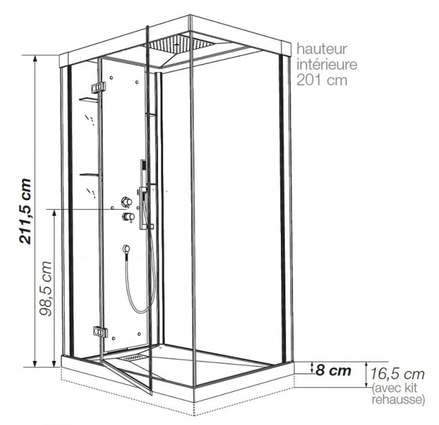 cabine de douche kineform thermostatique 100x80. Black Bedroom Furniture Sets. Home Design Ideas
