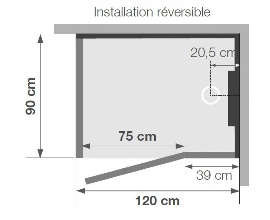 cabine de douche kineform thermostatique 120x90 pivotante acier. Black Bedroom Furniture Sets. Home Design Ideas