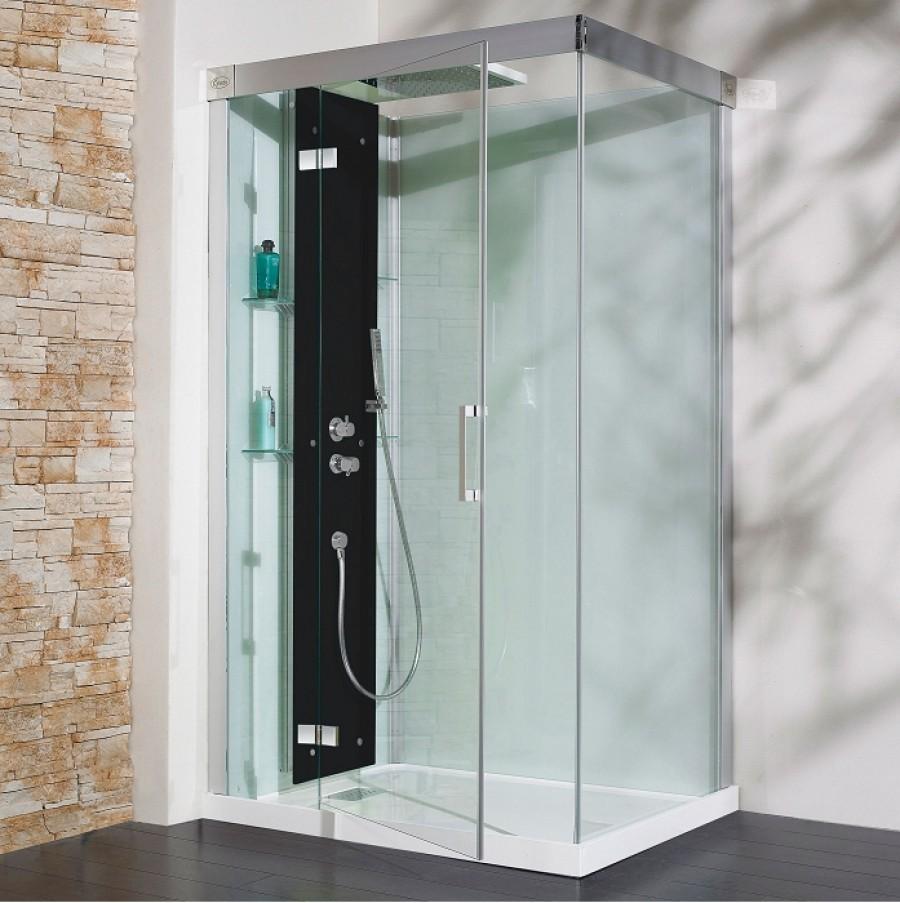 cabine de douche kineform thermostatique 100x80 pivotante perle noire. Black Bedroom Furniture Sets. Home Design Ideas