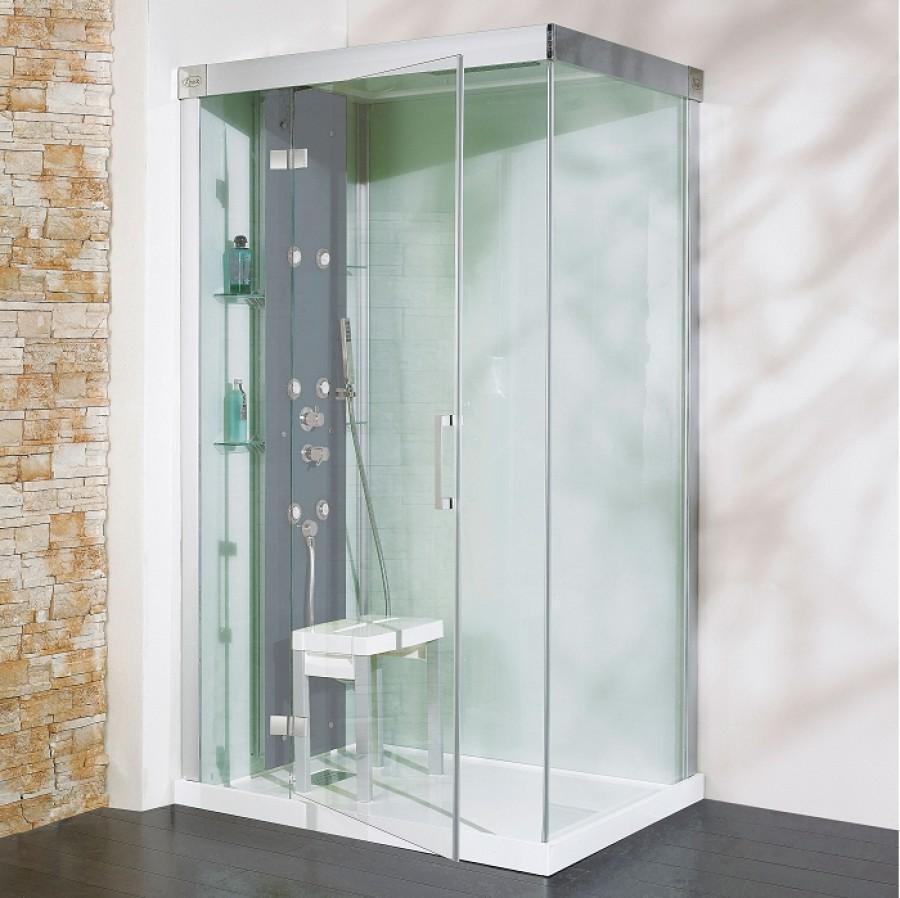 cabine de douche kineform hydrobrumisante 100x80 pivotante acier. Black Bedroom Furniture Sets. Home Design Ideas