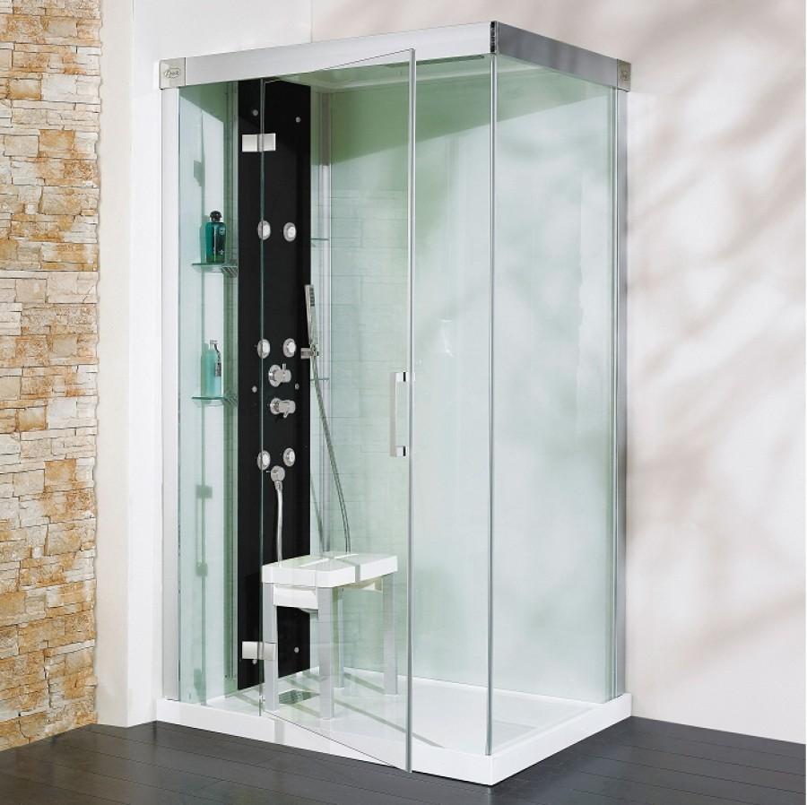 Cabine de douche kineform hydro hammam 120x90 pivotante - Cabine de douche noire ...