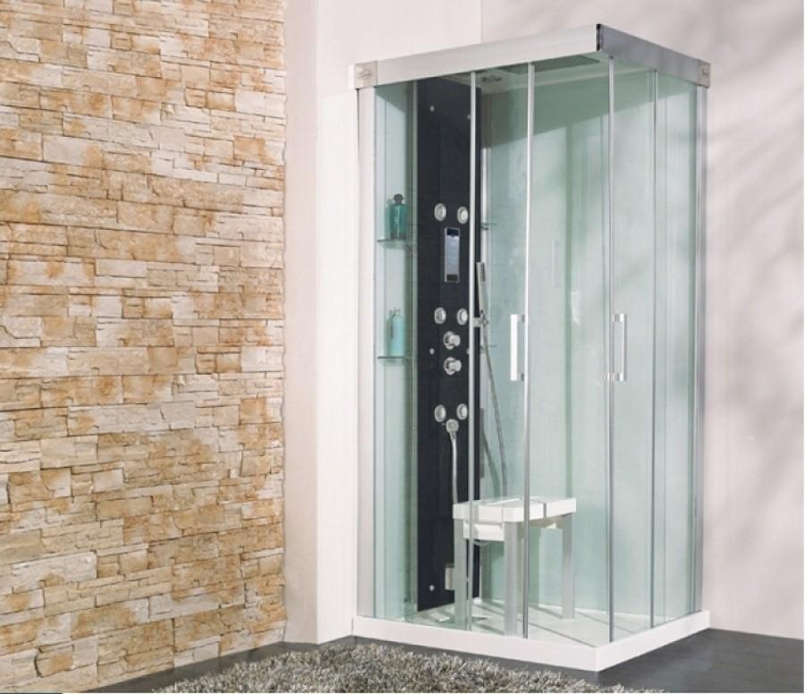 cabine de douche kinform hydro hammam 100x80 coulissante. Black Bedroom Furniture Sets. Home Design Ideas