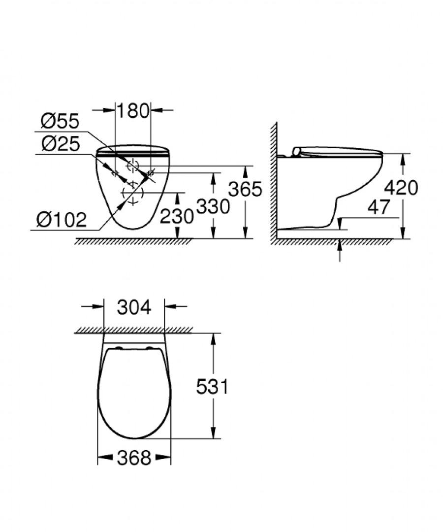cuvette wc suspendue grohe bau ceramic sans bride meuble de salle de bain douche. Black Bedroom Furniture Sets. Home Design Ideas