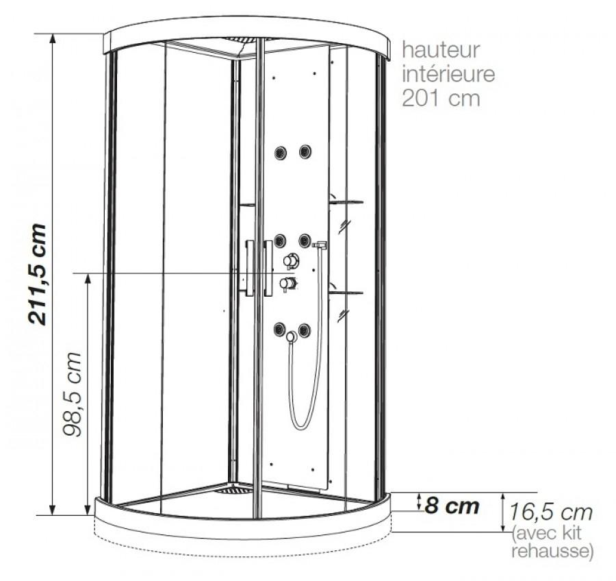Cabine de douche kineform hydrobrumisante 1 4 de rond 90 - Cabine de douche noire ...