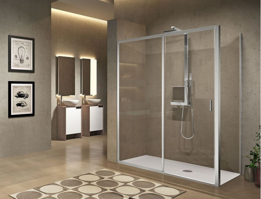 Paroi de douche sans seuil 1 porte coulissante 1 fixe lunes 2 0 2ph 100 cm transparent silver - Porte douche plastique ...