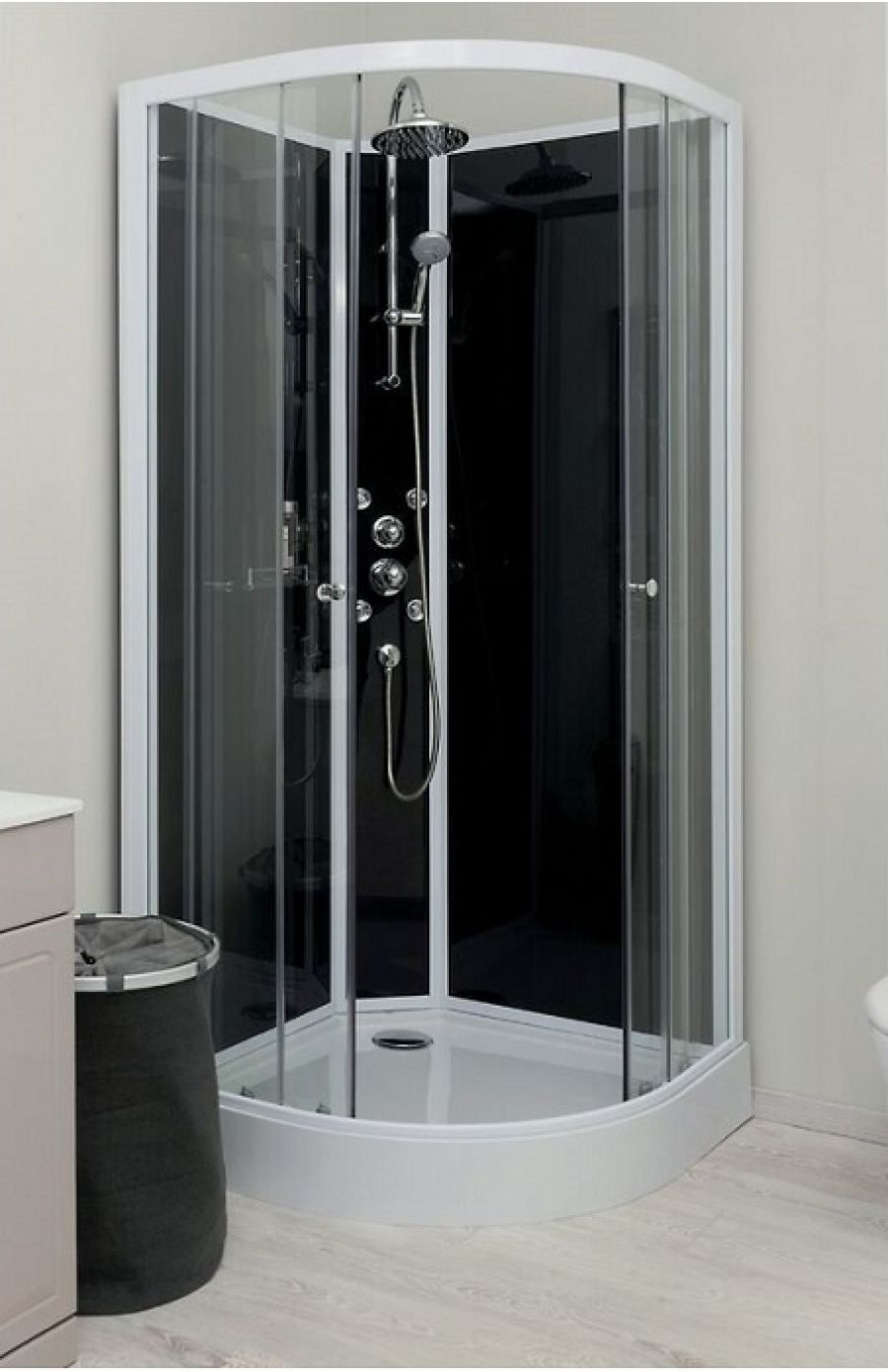 cabine de douche hydro gena grise sans silicone 80 meuble de salle de bain. Black Bedroom Furniture Sets. Home Design Ideas