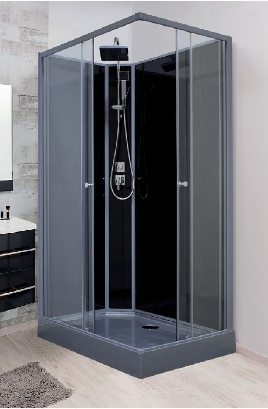 cabine de douche rectangulaire mayline 120x80 meuble de salle de bain douche. Black Bedroom Furniture Sets. Home Design Ideas
